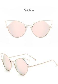 21eb90dc1951 Brand Personality Trend Cat Eye Sunglasses Women Vintage Fashion Metal  Frame Mirror Sun Glasses Unique Flat Ladies Sunglasses