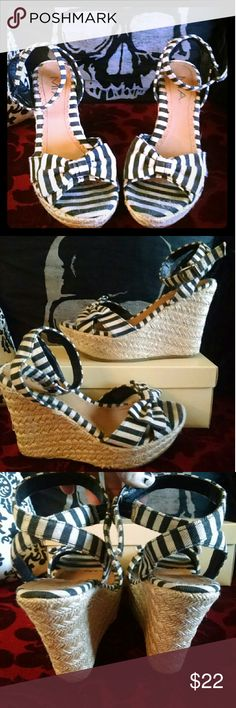MIA Striped Bow Woven Platform Wedges Super adorable wedges! Love these shoes, but they are slightly big on me. Alas, they've sat in my closet for far too long. They would be worn great with a nautical pin up outfit, or even a spooky beachy goth look ?? MIA Shoes Platforms
