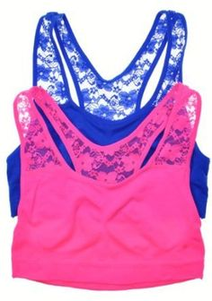 Lace sports bra, cute if it shows under a tank!