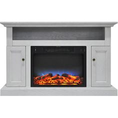 """Enjoy comfortable warmth throughout in your home with this Broncho LED Electric Fireplace. The forced-air electric heater insert features 2 heat settings, timer, and handy remote control. With log and flame effect, this transitional unit gives you the cozy ambiance of a traditional fireplace without smoke or a mess. In addition, the full-surround mantel also functions as a media center. The mantel top accommodates up to a 50"""" flat panel tv, an open shelf houses electronic components, plu..."""