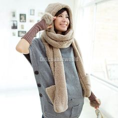 2016 Hot Fashion New Women Winter Warm Soft Plush Faux Fur Hooded Cap Hat Scarves Hood Pocket Gloves Scarf 4 Color