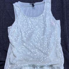 saleAlfani sequin white tank top. Plus size Very cute plus size top. Alfani Tops Tank Tops