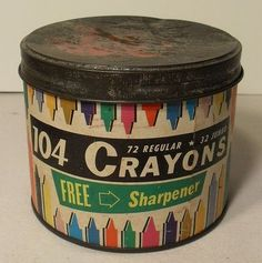 "retro crayon packaging... I love this! See where it says, ""free sharpener""? Time for a tetanus shot! Lol."