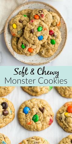 Peanut butter oatmeal cookies packed with m&m's and chocolate chips. These soft … Peanut butter oatmeal cookies packed with m&m's and chocolate chips. These soft monster cookies are incredibly soft, chewy, thick, and so easy to make! Oatmeal Cookie Recipes, Easy Cookie Recipes, Sweet Recipes, Peanut M&m Cookie Recipe, Soft Monster Cookies, Cookie Monster, Soft Monster Cookie Recipe, Moster Cookies, Köstliche Desserts