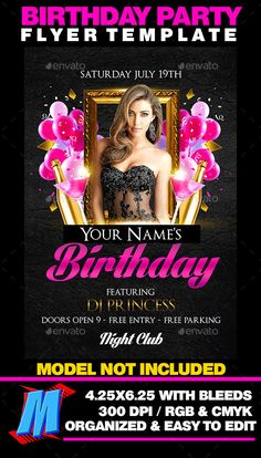 Birthday Bash Flyer Template  Modern Fonts Adobe Photoshop And Fonts