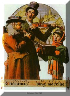 """""""Christmas Carol"""" 12/8/1923 aka. """"Christmas Trio""""  """"Sing Merrilie"""" by Norman Rockwell for The Saturday Evening Post, cover (info verified)"""