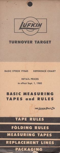 1960 Lufkin Rule Co Basic Measuring Tapes and Rules Catalog with Retail Price Li