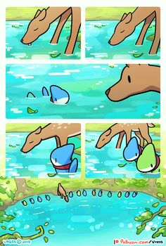 A Deer In the Lake by Vress-shark on DeviantArt Cute Animal Drawings, Kawaii Drawings, Cute Drawings, Cute Funny Animals, Funny Cute, Sheldon The Tiny Dinosaur, Pet Shark, Baby Shark, Animal Memes