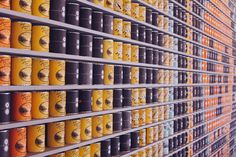 Public Domain Images – Coffee Cans Yellow Black Blue Orange Bokeh Pinewood Social Nashville Tennessee