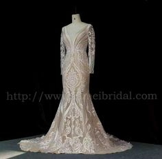 High Quality Handmade Embroidered French Lace Deep V Wedding