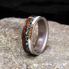Titanium Wedding Band or Ring Select Wood Curly Koa Turquoise Antler Inlay on Etsy, $250.00