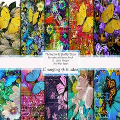 Digital Download FLOWERS AND BUTTERFLIES by ChangingArtitudes