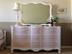 Items similar to SOLD- Charming, Romantic Pure White and Antoinette Pink Dresser on Etsy Pink Furniture, Refurbished Furniture, Repurposed Furniture, Shabby Chic Furniture, Furniture Projects, Furniture Makeover, Painted Furniture, Pink Dresser, French Provincial Furniture