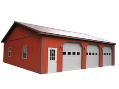 Red Pole Barn With Brown Roof Google Search B 226 Timent