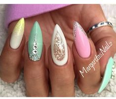 Cute almond shaped nails..