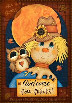 E PATTERN - Fall Friends! A friendly scarecrow and owl on a beautiful Fall night! Designed & Painted by Sharon Bond E PATTERN - Fall Friends! A friendly scarecrow and owl on a beautiful Fall night! Designed & Painted by Sharon Bond Scarecrow Painting, Scarecrow Face, Halloween Painting, Fall Canvas Painting, Autumn Painting, Autumn Art, Halloween Rocks, Fall Halloween, Halloween Crafts