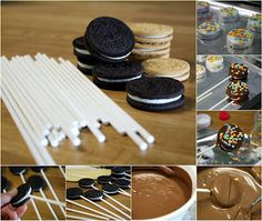 Oreo Cookie pops So easy Looking! I a going to color coat them with colors from our Angry Bird Birthday party!