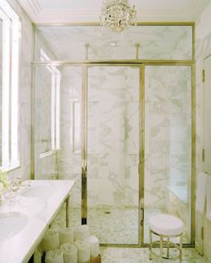46 Amazing Innovative Shower Designs : White Marble Vanity And Luxurious Chandelier Design