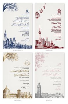 Wedding Invitations with skylines of New York, Shanghai, Florence and London