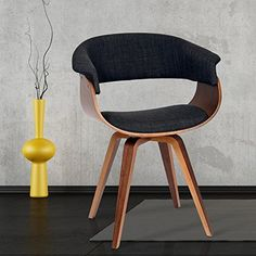 c86a3adc5d3 Armen Living LCSUCHWACH Summer Chair in Charcoal Fabric and Walnut Wood  Finish  ArmenLiving Barrel Chair