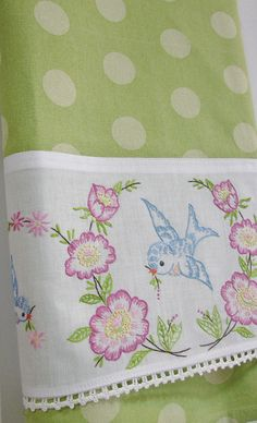 Vintage Recycled Pillowcase to Upcycled Tea Towel - Follow Me Bluebirds  - Homespun Home Decor