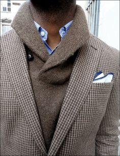 """Houndstooth Cream & Tan Wool Blazer with Taupe Shawl Collar Sweater Sharp Dressed Man, Well Dressed Men, Scott Fitzgerald, Stylish Men, Men Casual, Stylish Clothes, Love Fashion, Mens Fashion, Trendy Fashion"