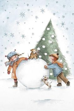Lovely winter illustration of the new year and Christmas, children sculpting a snowman Christmas Scenes, Christmas Mood, Christmas Pictures, Kids Christmas, Vintage Christmas, Christmas Crafts, Christmas Ornaments, Illustration Noel, Winter Illustration