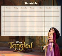 Locked in a tower for 18 years because she had magic hair, Rapunzel desired to see the strange lights in the sky. When fate sends a thief to her window, she creates a plan for him to be her guide s… Disney Printables, Free Printables, Timetable Planner, Disney Tangled, Disney Princess, Magic Hair, Big Hero 6, Disney Animation, Rapunzel