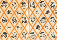 Endpapers from the 1st edition, the first Secret Seven book to have illustrated endpapers, Good Work Secret Seven by Enid Blyton