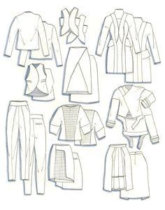 Balenciaga on Behance Fashion Illustration Sketches, Fashion Sketchbook, Fashion Design Sketches, Flat Drawings, Flat Sketches, Fashion Flats, Fashion Art, Fashion Portfolio Layout, Portfolio Ideas