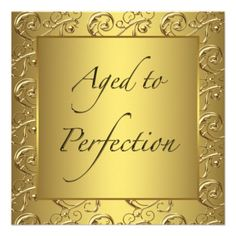 Gold Swirl Aged To Perfection Birthday Party Announcements 75th Invitations 90th Parties