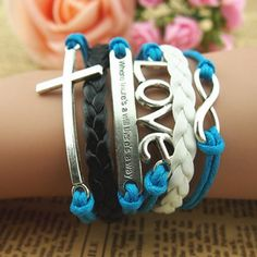 Romantic love password cross leather bracelets with wax rope bracelets | Tophandmade - Jewelry on ArtFire