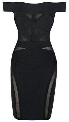 Bardot Mesh Bandage Dress Black - Party Dresses and Celebrity Inspired Fashion Black Party Dresses, Sexy Dresses, Short Dresses, Bandage Dresses, Peplum Dresses, Classy Outfits, Chic Outfits, Fashion Outfits, Womens Fashion