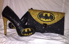 BATMAN superhero comic yellow gold and black sparkly glitter clutch and high heels stiletto shoes Custom Made design Low or high heels