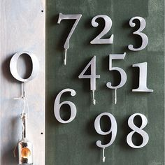 """Number Hooks - for entry way wall...with optional """"J-hook"""" added to bottom of each number"""