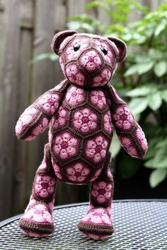 Standing Crochet African Flower Teddy Bear Pattern - Crochet Craft, Table Decor, Room Decor