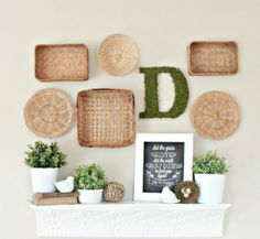 Creative wall display with wicker baskets and flowers