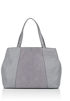 c8b3cf684fac Halston Heritage s large tote bag is crafted of grey pebbled leather  detailed with central panels of grey suede.