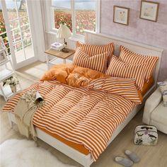 2016 Discount Bedding Set Orange Striped Queen Size Bed Quilt Cover Set Linen Comfortable Duvet Covet Set Pillowcases for sale #Affiliate