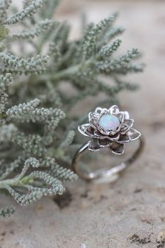 White gold flower engagement ring australian opal ring delicate proposal ring lotus ring gold ring for woman floral jewelry white opal Cute! Lotus Ring, White Gold Wedding Bands, Wedding Rings, White Gold Rings, Estilo Real, Proposal Ring, Proposal Photos, Proposal Ideas, Perfect Engagement Ring