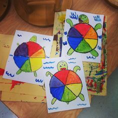 Teach and Shoot: Elementary Art Unit: Color Theory : Color Wheel. turn into a fraction lesson with coloring parts of the whole Grade 1 Art, First Grade Art, Second Grade, Kindergarten Art Lessons, Art Lessons Elementary, Teaching Elementary Art, Color Wheel Art, Color Wheel Lesson, Ecole Art