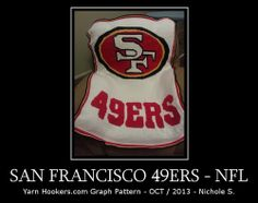 San Francisco - 49ers - NFL - Afghan Crochet Graph Pattern Chart by Yarn Hookers.com, $5