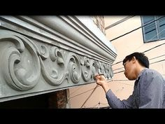 ** Amazing Construction - Workers Decorate the front of house with sand and cement ** Wish everyone to watch video happy! Plaster Crafts, Cement Crafts, Concrete Projects, Construction Process, Construction Design, Construction Worker, Archways In Homes, House Roof Design, Cement Design
