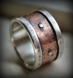 mens wide band wedding ring rustic fine silver by MaggiDesigns, $345.00