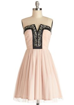 Luxe Redux Dress. Bring back majestic artistry to your wardrobe with this bedazzled blush-pink party dress! #blush #prom #modcloth