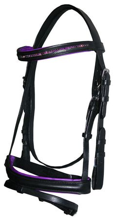 Brand New FULL English Bridle with PURPLE Crystal Browband for Show / Dressage