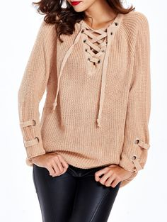 Loose-Fitting Criss-Cross Long Sweater