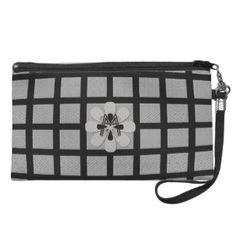 Custom Vintage Style Silver Black Checked Wristlet Purses