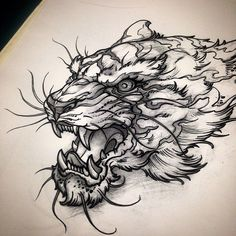 Additionally received this demon tiger tigertattoo tiger tattoo Tattoo Sketches, Tattoo Drawings, Body Art Tattoos, Sleeve Tattoos, Tattoo Ink, Arm Tattoo, Hand Tattoos, Tiger Tattoodesign, Tiger Drawing