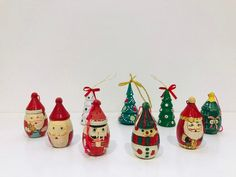 Vintage Christmas tree Decorations set, Vintage hand painted wooden Christmas ornaments by Seekandchic on Etsy Christmas Tree Decorations Sets, Wooden Christmas Ornaments, Festival Decorations, Vintage Christmas, Christmas Gifts, Holiday Decor, Etsy Seller, Handmade Items, Hand Painted